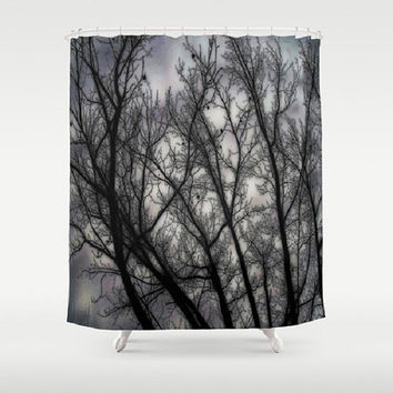 Haunted, black, grey, trees, nature, spooky - Decorative Shower Curtain-Machine Washable - Decor, New Home or Apartment - Made To Order-H#07