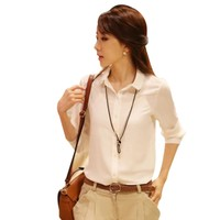 White Shirt Turn down Neck Casual Tops Blouse Clothes for Women