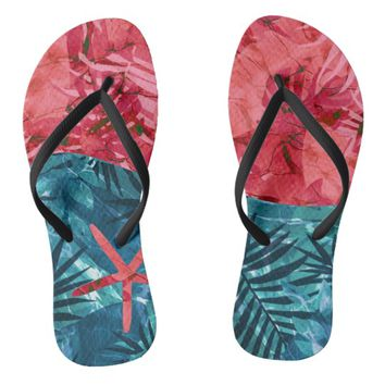 Summer Beach Tropical Pattern Flip Flops