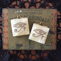 Eye of Ra Etched Abalone Mother of Pearl and Brass Vintage Pill Boxes Trinket Case