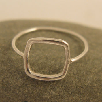Geometric jewelry, Square ring in sterling silver, handmade for everyday wear