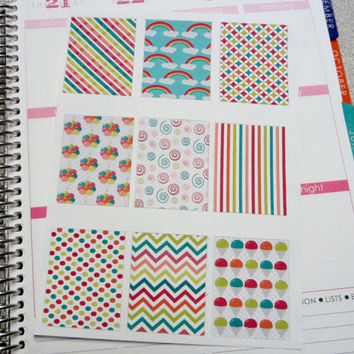 Box stickers, Full Box Stickers, Square Stickers, Carnival Theme, Planner Stickers, Erin Condren Planner Stickers, ECLP, Agenda