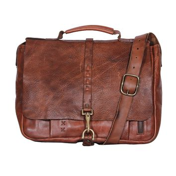 Impressa Handmade Leather Messenger Bag - Distressed Cognac