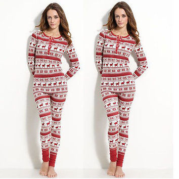 Christmas Pajamas Matching Outfits Set Deer Adult Women Reindeer Sleepwear Nightwear Pjs Clothing Xmas