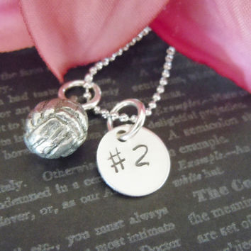 ON SALE-Volleyball-Charm-Personalized Volleyball Number-Hand Stamped Team Name-Child Necklace with Volleyball Number