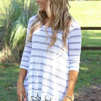 Sweet as Can Be Tunic: Heather Gray/Ivory