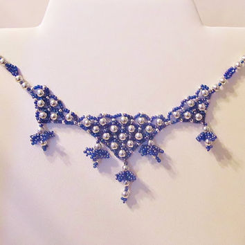 Beaded Collar Necklace  Silver and Blue Collar by Starfall on Etsy
