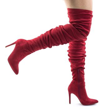 Yestin Pull On Over The Knee, Thigh High, High Stiletto Heel Dress Boots