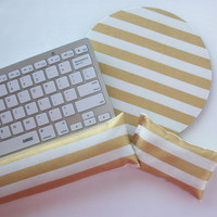 Mouse pad, keyboard rest, and mouse wrist rest set -  stripe gold metillic  - coworker desk cubical office accessories