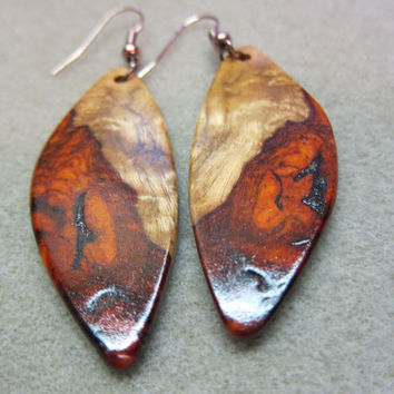 Beautiful Amboyna Burl Exotic Wood Dangle Earrings ExoticWoodJewelryAnd handcrafted ecofriendly