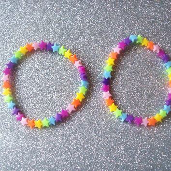 Rainbow Candy - Rainbow Brite Inspired Star Bracelet - Set of 2