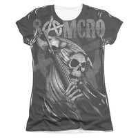 SONS OF ANARCHY SOMCRO REAPER Cap Sleeve Juniors 100% Polyester T-Shirt