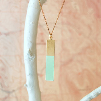 Geometric Necklace, Brass Long Rectangle Colorblock, The Durango