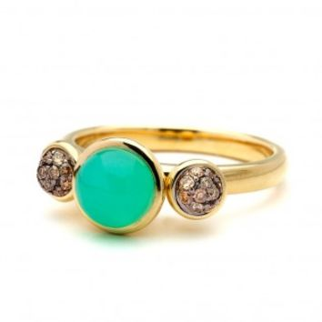 Chrysophase Three Stone Bauble Ring