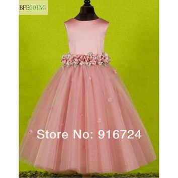 Actual Images  Satin Tulle A-line Flower Girl Dress  Flowers On the Waist Custom Made