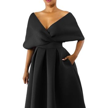 Black Show Off Shoulders V Neck Formal Swing Dress