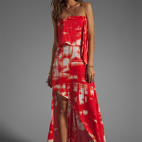 BCBGMAXAZRIA Strapless Printed Maxi Dress in Cranberry Combo from REVOLVEclothing.com