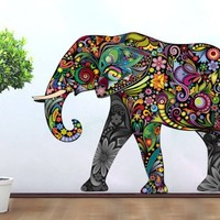 Colorful Floral Elephant Stickers , 58 X 40 Inches | 147.4 x 106 cm