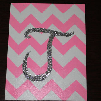 Canvas Painting, Glitter Initial, Chevron, Custom Color Paintings by DesignsByTEJ on Etsy