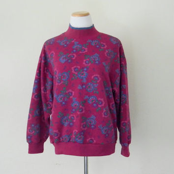 FREE usa SHIPPING Vintage Gitano ladies sweatshirt bohemian chic light weight vibrant colors crew neck floral print polyester revival size M