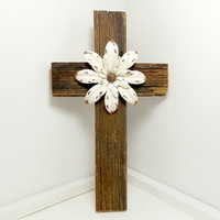 "Christian Home Decor, 7"" x 12"", Barnwood Cross, Western Home Decor, Barnwood Art, Gifts Under 40"
