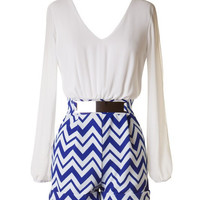 Long Sleeve Chevron Romper - Royal Blue