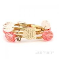 Monogrammed Wire and Stone Bangle Set | Marleylilly