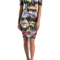 (anb) Cut out short sleeves floral stiletto bodycon set