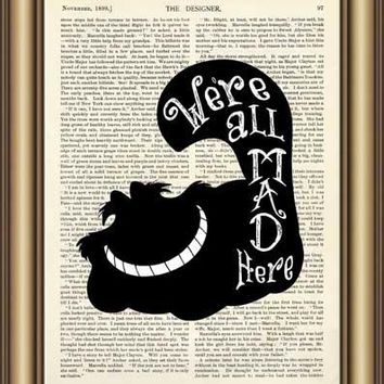 Alice in Wonderland Cheshire Cat Quote Dictionary Art Print wall Poster Canvas painting Home Decor Pictures Vintage Book Print