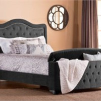 Pewter Trieste King / Cal King Bed Set with Storage Footboard & Rails - Hillsdale Furniture 1638BCKRTS