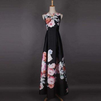 2017 High-quality Spring Newest Fashion Luxury Elegant  Colorful Hibiscus flowers Printing Expansion Bottom Floor-Length Dress