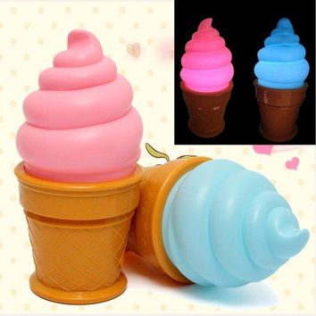 LED Ice Cream Cone Night Light Desk Table Lamp For Kids Bedroom Decor Lights