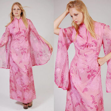 Vintage 60s ALFRED SHAHEEN Maxi Dress Pink Asian Floral KIMONO