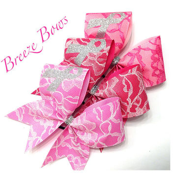 Cheer Bow- Lace Breast Cancer Bows