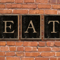 """EAT- kitchen signs - Set of 3 wooden plaques framed in reclaimed oak wood. Handmade.  Each piece is 15""""x13""""x2""""."""