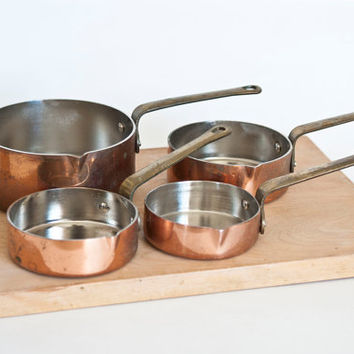 Vintage Copper Pour Spout Nesting Measuring Cups, Stainless Steel with Brass Handles, Set of 4