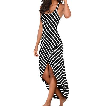 Women Casual Sundress Sleeveless Stripes Loose Long Beach Dress
