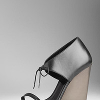 Nappa Leather Tie-Detail Wedge Sandals