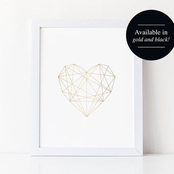Geometric Heart, Gold Heart Print, Digital Prints, Modern Bedroom Decor, Wall Decor, Geometric Poster, Printable, Instant Download #BPB228
