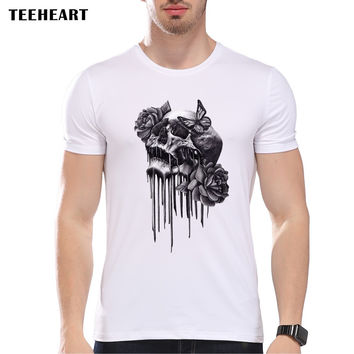 Summer Vintage Skull Tattoo Print T Shirt Men's High Quality Custom Printed Tops Hipster Tees
