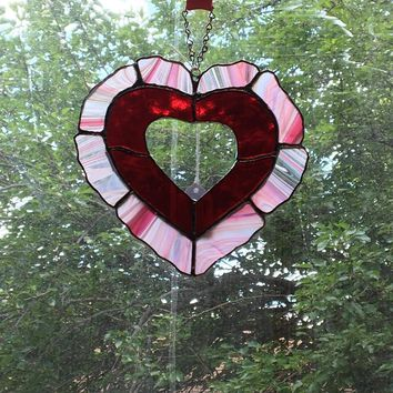 Heart Shaped Stained Glass Wall Hanging
