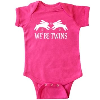 Cute woodland bunny rabbit twin Infant Creeper outfit for girls. $18.99 www.inktastic.com