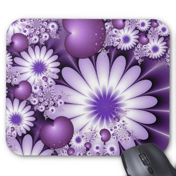 Falling in Love Abstract Flowers & Hearts Fractal Mouse Pad
