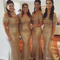 2016 Cheap Mermaid Gold Sequin Bridesmaid Dresses Scoop Off Shoulder Wedding Party Gowns Maid of Honor Dress BE21