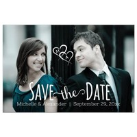 Whimsical Photo Save The Date Hearts Post Card