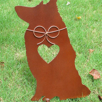 Rough Collie Dog Metal Garden Stake - Metal Yard Art - Metal Garden Art - Pet Memorial
