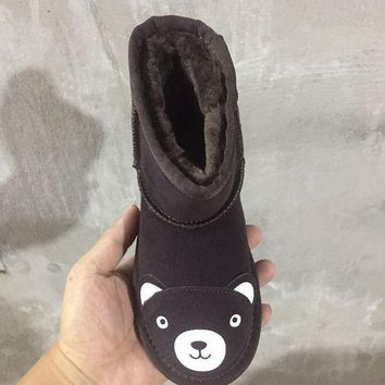 ESBON UGG Bear Children's Shoes Kids Little Monsters Series Women Men Fashion Casual Wool Winter Snow Boots Chocolate