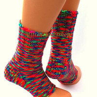 Multicolor yoga socks with heel Yoga socks Knitted socks Knit boot socks Dance socks Pilates socks Pedicure socks Summer socks Leg warmers