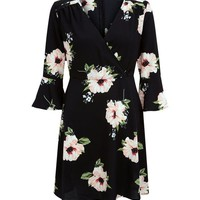 AX Paris Black Floral Print V Neck Dress