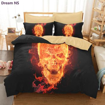 Dream NS 3D Skulls Bedding Set Super King Queen Size Spring Bed Linen / Bed Sheet Set (1pcs Quilt + Pillow covers 2 Pcs) Bed set